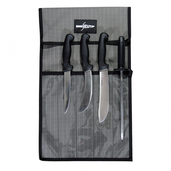 SICUT 5 Piece Butchers Knife Package with Black Handle